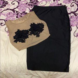 Mesh Floral Appliqué Top & Skirt Set